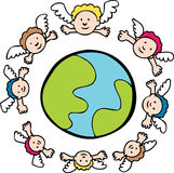 Protecting Angels. Angels watch over the earth stock illustration
