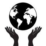 Protecting or control hands holding globe planet earth with cont vector illustration