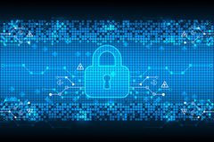 Protecting digital encoding. Padlock and decoding algorithm, script programming, safety and protect system, vector illustration royalty free illustration