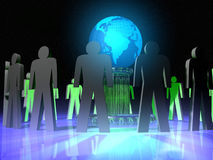 Protecting Earth. People around Earth globe stock illustration