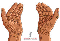 Protecting empty hands with place for small object. Protecting empty hands with place for some small object, African ethnicity, detailed vector illustration Stock Photo