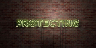 PROTECTING - fluorescent Neon tube Sign on brickwork - Front view - 3D rendered royalty free stock picture Royalty Free Stock Photos