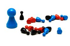 Protection game figures different opinion. Protecting game figures with different opinion Royalty Free Stock Photo