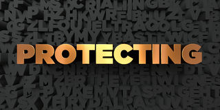 Protecting - Gold text on black background - 3D rendered royalty free stock picture Royalty Free Stock Photography
