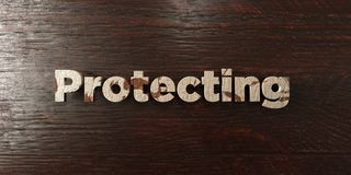 Protecting - grungy wooden headline on Maple  - 3D rendered royalty free stock image Stock Photo