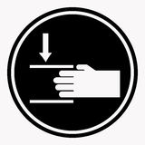 Protecting hand icon with lines. Danger sign attention black circle. Protecting hands icon with two lines. Danger sign attention black circle flat theme. Vector Royalty Free Stock Images