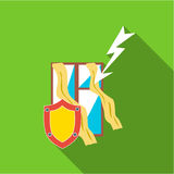 Protecting home from lightning icon, flat style. Protecting home from lightning icon. Flat illustration of protecting home from lightning vector icon for web Stock Images
