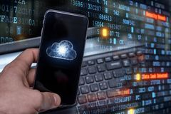 Hacking mobile devices by hackers. Data protection in the cloud stock photos
