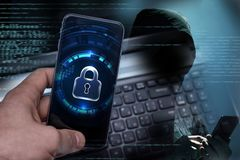 Hacking mobile devices by hackers. Data protection in the cloud stock images