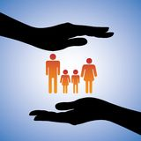 Protecting parents & children(family) Illustration Royalty Free Stock Images