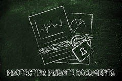Protecting private documents: illustration with chained pages Stock Images