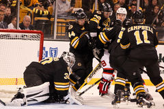 Protecting Tim Thomas Boston Bruins Royalty Free Stock Photo