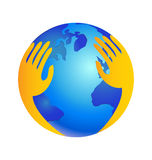 Protecting world with hands over logo Royalty Free Stock Image