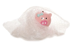 Protecting your money piggy bank Royalty Free Stock Image