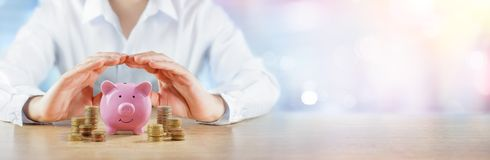 Protecting Your Savings - Banking And Assurance Concept stock photos