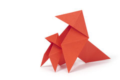Protection. Two origami birds on white background. Concept of safety under parental protection Royalty Free Stock Photos