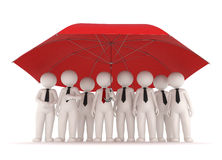 Protection - 3d business people. 3d business team standing under a big red umbrella - Protection and insurance concept - Image on white background with soft Royalty Free Illustration