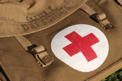 Protection. Shell dressing first aid bag and kit used during the Second World War stock image