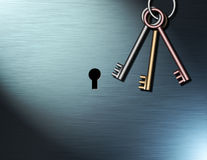 Protection. Keys await use near a keyhole Royalty Free Illustration