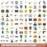 100 protection agency icons set, flat style. 100 protection agency icons set in flat style for any design vector illustration royalty free illustration