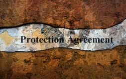 Protection agreement text on wall stock images