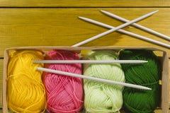 Protection avec la suite pour le tricotage Image stock