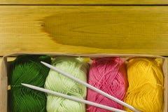 Protection avec la suite pour le tricotage Photo libre de droits
