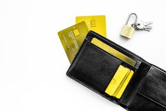 Protection of banking transactions. Bank cards near lock and keys on white background top view copy space royalty free stock image