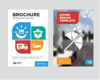 Protection brochure flyer design template. With abstract photo background, Package delivery in hand, Delivery box package opened with up arrow, Free delivery Stock Photos