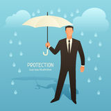 Protection business conceptual illustration with businessman holding umbrella.  Stock Image
