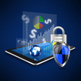 Protection business with padlock on tablet,tablet  illustration Royalty Free Stock Photography