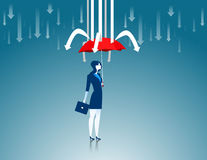 Protection. Business women red umbrella the prevent arrows. Concept business illustration. Vector flat Royalty Free Stock Photo