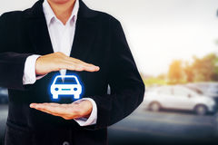 Protection of car  (automobile) insurance and collision damage w. Aiver concepts Stock Photography