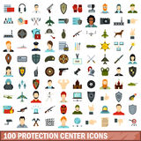 100 protection center icons set, flat style Royalty Free Stock Images