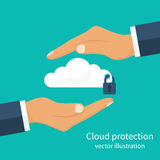Protection cloud storage. Safety information data. Hands men holding the cloud as a symbol of security cloud computing. Security system server. Vector Royalty Free Stock Photo