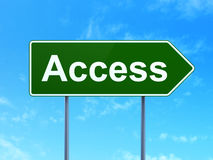Protection concept: Access on road sign background Stock Photo