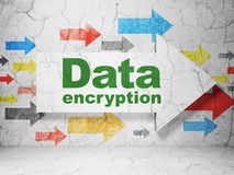 Protection concept: arrow with Data Encryption on grunge wall background Royalty Free Stock Images