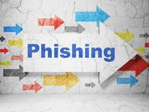 Protection concept: arrow with Phishing on grunge wall background Stock Photos