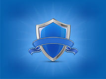 Protection concept. Blue glossy shield with ribbon. On background light beams. Vector illustration Stock Photography