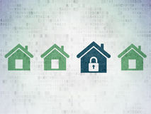 Protection concept: blue home icon on digital Royalty Free Stock Photos
