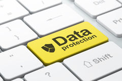 Protection concept: Broken Shield and Data Protection on compute Stock Photo