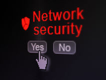 Protection concept: Broken Shield icon and Network. Protection concept: buttons yes and no with pixelated Broken Shield icon, word Network Security and Hand Stock Photos