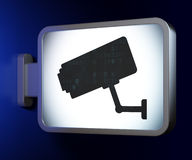 Protection concept: Cctv Camera on billboard Stock Images