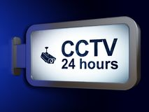 Protection concept: CCTV 24 hours and Cctv Camera on billboard background. Protection concept: CCTV 24 hours and Cctv Camera on advertising billboard background Royalty Free Stock Photography