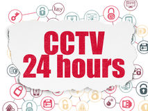 Protection concept: CCTV 24 hours on Torn Paper. Protection concept: Painted red text CCTV 24 hours on Torn Paper background with Scheme Of Hand Drawn Security Royalty Free Stock Photos