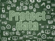 Protection concept: Protect Data on School board background Stock Photography