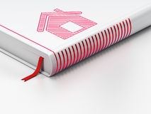Protection concept: closed book, Home on white Royalty Free Stock Image