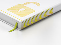 Protection concept: closed book, Opened Padlock on white background Royalty Free Stock Photos