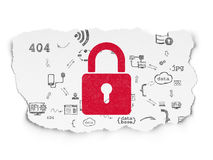 Protection concept: Closed Padlock on Torn Paper Royalty Free Stock Images