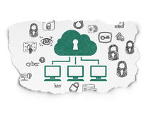 Protection concept: Cloud Network on Torn Paper Stock Photo